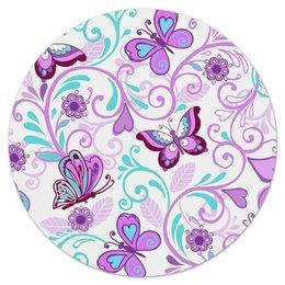 """Коврик для мышки (круглый) """"Цветные бабочки"""" - бабочки, цветы, узор, весна, природа"""