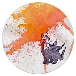 """Коврик для мышки (круглый) """"Дракоша"""" - дракон, оранжевый, клякса, графика, dragon"""