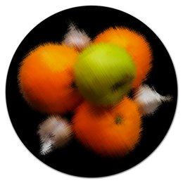 """Коврик для мышки (круглый) """"Витамин"""" - апельсин, яблоко, веган, витамин, чеснок"""
