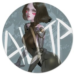 "Коврик для мышки (круглый) ""Alita: Battle Angel"" - девушка, фантастика, киборг, алита"