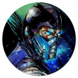 """Коврик для мышки (круглый) """"Mortal Kombat X (Sub-Zero)"""" - космос, воин, боец, mortal kombat, sub-zero"""