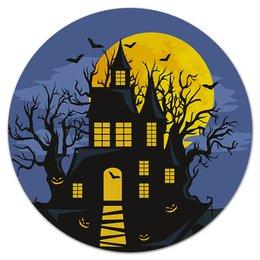 "Коврик для мышки (круглый) ""Хэллоуин"" - хэллоуин, тыква, летучая мышь"