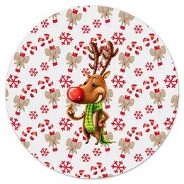 """Коврик для мышки (круглый) """"новый год"""" - новый год, зима, подарки, снежинки, олень"""