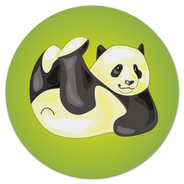 "Коврик для мышки (круглый) ""Панда"" - панда, яркая"