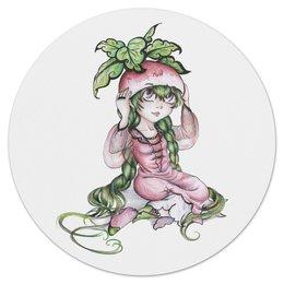 """Коврик для мышки (круглый) """"Девочка-редиска"""" - аниме, девочка, овощ, редиска"""