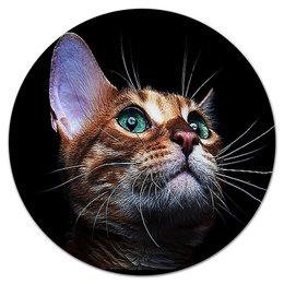"""Коврик для мышки (круглый) """"КОШКИ. МАГИЯ КРАСОТЫ"""" - кошка, стиль, красота, яркость, арт фэнтези"""