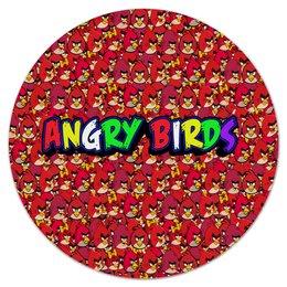 "Коврик для мышки (круглый) ""Энгри Бердз"" - птицы, птички, мульт, angry birds, энгри бёрдз"