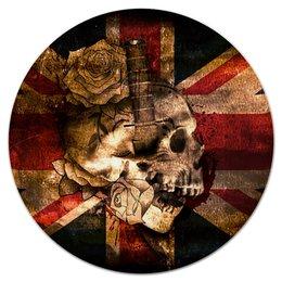 "Коврик для мышки (круглый) ""Череп конфедерата"" - череп, флаг, розы, united kingdom, флаг конфедерации"