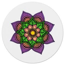 """Коврик для мышки (круглый) """"Яркие цветок мехенди"""" - цветы, орнамент, индийский, мехенди"""
