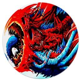 """Коврик для мышки (круглый) """"Монстр красный"""" - игры, монстр, краски, цветные, чудовище"""