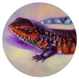 """Коврик для мышки (круглый) """"Ящерка"""" - арт, иллюстрация, рептилия, ящерка"""