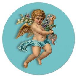 "Коврик для мышки (круглый) ""Ангел"" - крылья, цветы, ангел, ребенок, букет"