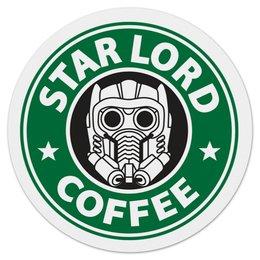 "Коврик для мышки (круглый) ""Star Lord Coffee"" - кофе, coffee, starbucks, звёздный лорд, star lord"