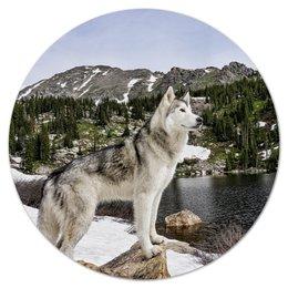 """Коврик для мышки (круглый) """"Волк в горах"""" - волк, животные, пейзаж, природа, горы"""