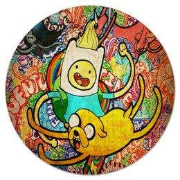 "Коврик для мышки (круглый) ""Adventure Time"" - adventure time, время приключений, фин, джейк, at, jake, finn, ат, адвенчур тайм, funn"