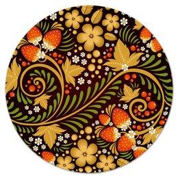 """Коврик для мышки (круглый) """"Ягоды"""" - цветы, узор, лес, ягоды, клубника"""