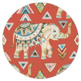"""Коврик для мышки (круглый) """"Индия"""" - животные, слон, графика, треугольники, индия"""