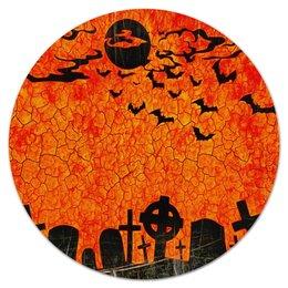 "Коврик для мышки (круглый) ""Летучие мыши"" - хэллоуин, кладбище, летучая мышь, луна, могила"
