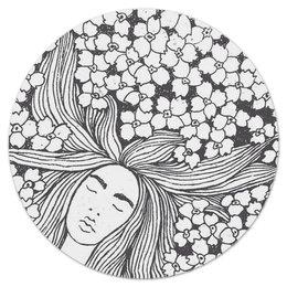 """Коврик для мышки (круглый) """"ВО СНЕ"""" - девушка, цветы, сон, волосы, dream"""