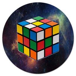 """Коврик для мышки (круглый) """"Магический кубик Рубика"""" - кубик, космос, головоломка, кубик-рубик, кубик рубика"""