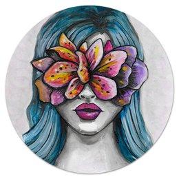 """Коврик для мышки (круглый) """"Весна"""" - праздник, девушка, цветы, 8 марта, весна"""