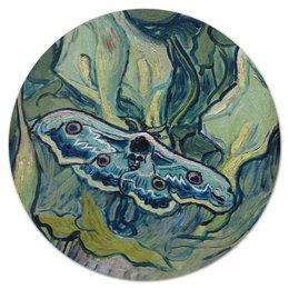 """Коврик для мышки (круглый) """"Бражник мёртвая голова (картина Ван Гога)"""" - бабочка, картина, ван гог, живопись, постимпрессионизм"""