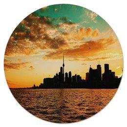 """Коврик для мышки (круглый) """"Вечерний город"""" - город, мегаполис, здания, природа, море"""