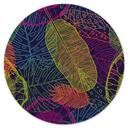 """Коврик для мышки (круглый) """"Узор листьев"""" - узор, листья, природа, листва, листы"""