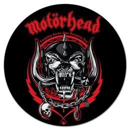 """Коврик для мышки (круглый) """"МУЗЫКА. MOTORHEAD"""" - череп, эмблема, рок-группа, волк, стиль надпись логотип яркость"""