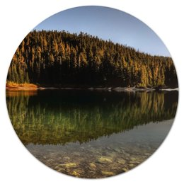 """Коврик для мышки (круглый) """"Озеро и лес"""" - лес, природа, озеро"""