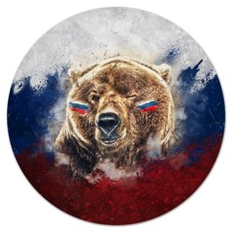 """Коврик для мышки (круглый) """"Русский Медведь"""" - футбол, медведь, россия, флаг, триколор"""
