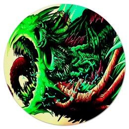 """Коврик для мышки (круглый) """"Монстр"""" - игры, монстр, зеленый, краски, цветные"""