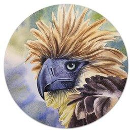 """Коврик для мышки (круглый) """"Филиппинский орел """" - животные, птица, орел, иллюстрация, перья"""