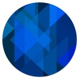 """Коврик для мышки (круглый) """"Синий абстрактный"""" - графика, синий, краски, абстракция, треугольники"""