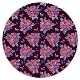 """Коврик для мышки (круглый) """"Букеты роз"""" - бабочки, цветы, роза, розы, букет"""