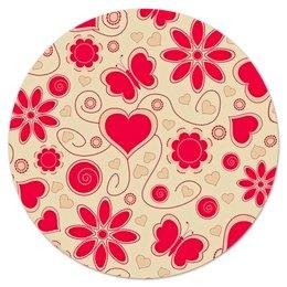 """Коврик для мышки (круглый) """"Бабочки и цветы"""" - сердце, бабочки, цветы, узор, весна"""