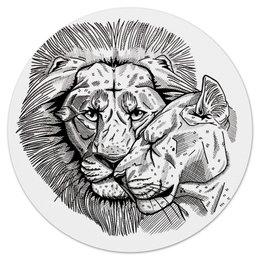 """Коврик для мышки (круглый) """"львиная любовь"""" - лев, lion, львица, couple, lioness"""