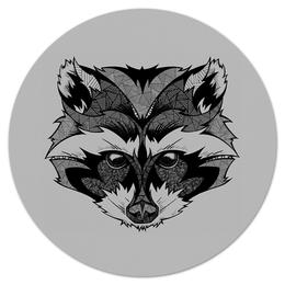 """Коврик для мышки (круглый) """"Енот стилизация"""" - рисунок, графика, енот"""