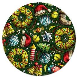 """Коврик для мышки (круглый) """"Елочные игрушки"""" - праздник, новый год, игрушки, подарки, елка"""