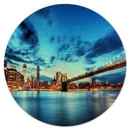 """Коврик для мышки (круглый) """"Мост над рекой"""" - мост, река, море, пейзаж, природа"""