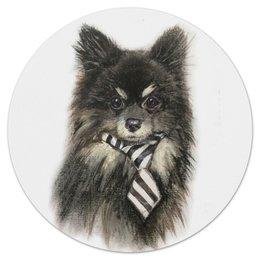 """Коврик для мышки (круглый) """"шпиц Кузя"""" - собака, новый год, новогодняясобака, черно белый, шпиц"""