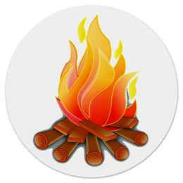 """Коврик для мышки (круглый) """"Горящие дрова"""" - огонь, ярко, дрова, коврик для мышки, костер"""