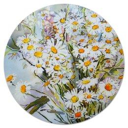 """Коврик для мышки (круглый) """"Букет ромашек"""" - flowers, ромашки, полевые цветы, daisies"""