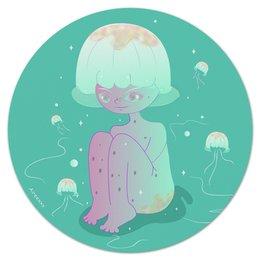 """Коврик для мышки (круглый) """"Девушка-медуза"""" - медуза, девушка, животное, природа"""