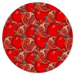 """Коврик для мышки (круглый) """"Гранат"""" - лето, фрукты, ягоды, цветные, гранат"""