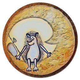 """Коврик для мышки (круглый) """"Ежик на луне"""" - одиночество, графика, небо, ежик, луна"""