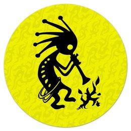 """Коврик для мышки (круглый) """"Кокопелли"""" - знаки, индейцы, дух, изобилие, плодородие"""