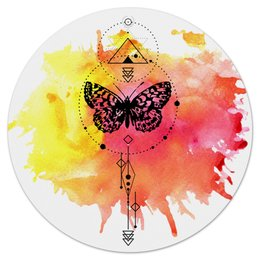"""Коврик для мышки (круглый) """"Круглый Butterfly abstract geometry"""" - минимализм, геометрия, насекомые, tattoo, клякса"""