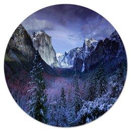 """Коврик для мышки (круглый) """"Синие горы"""" - лес, природа, горы, пейзаж, скалы"""