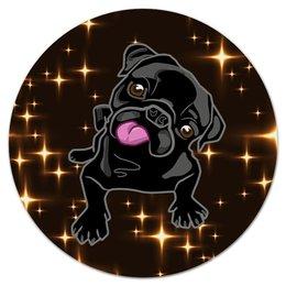 """Коврик для мышки (круглый) """"Черный пес"""" - собака, животные, пес, год собаки, звезды"""